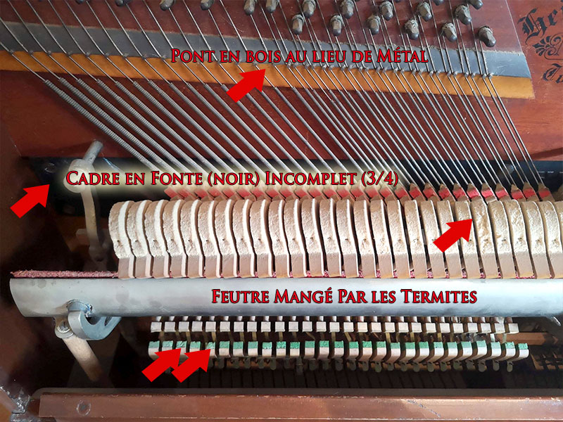 Mécanique ou action du piano Heintzman Co