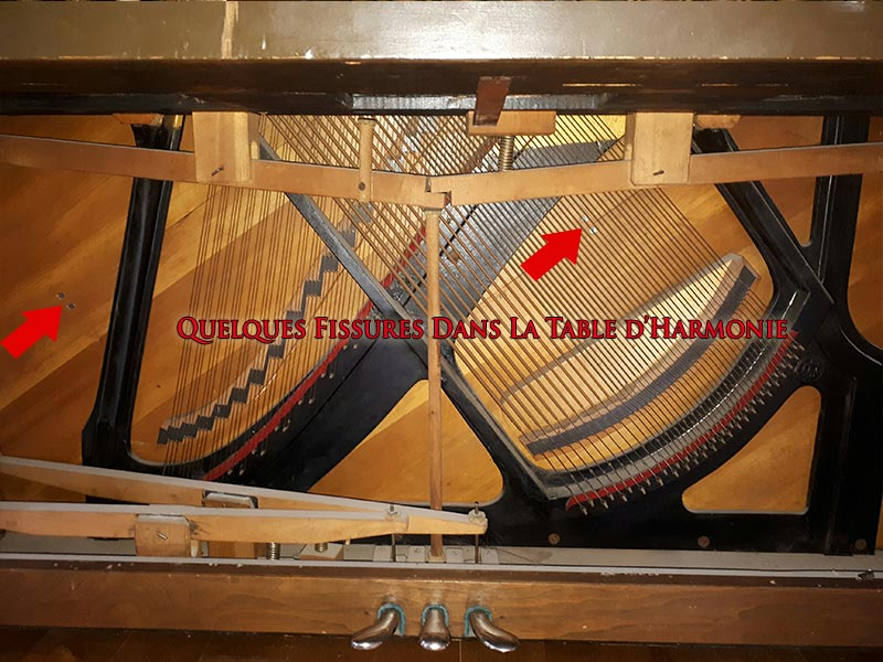 Fissures de la table d'harmonie du piano Otto Higel