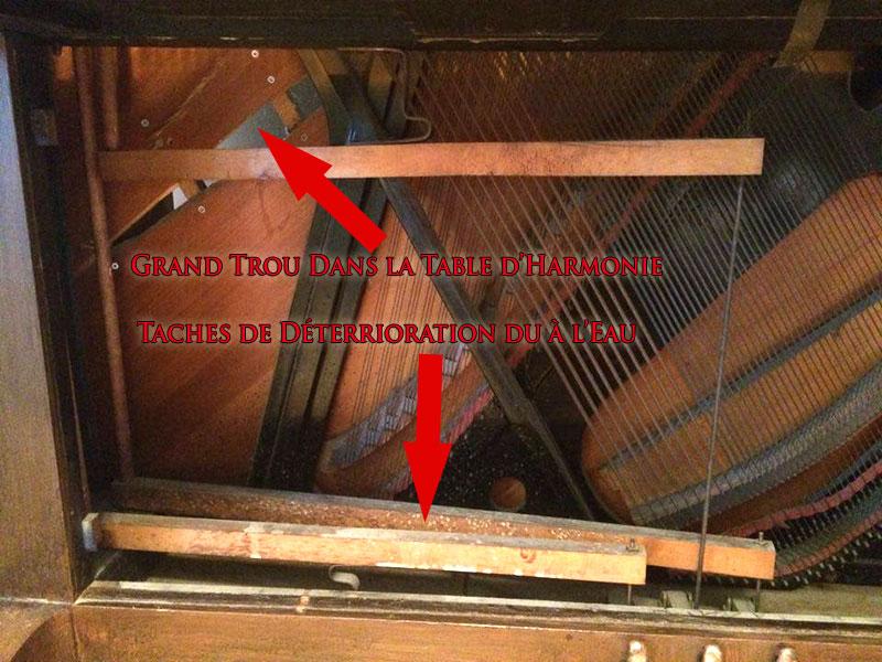 Trou dans la table d'harmonie du Piano Karn
