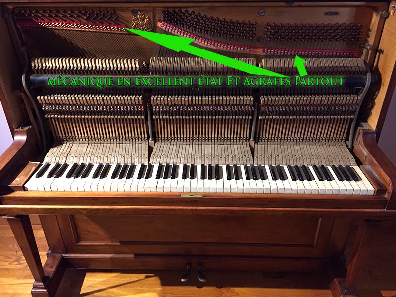 Intérieur du piano droit Broadwood