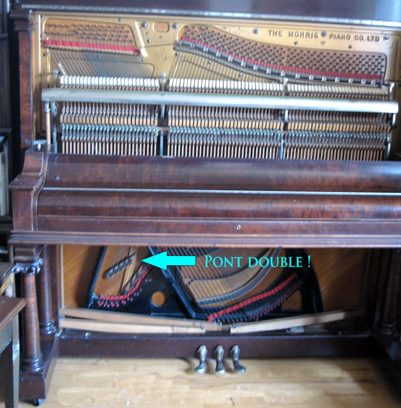 Détails des ponts du piano Morris
