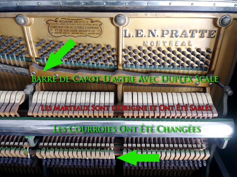 L'intérieur du Piano L.E.N. Pratte