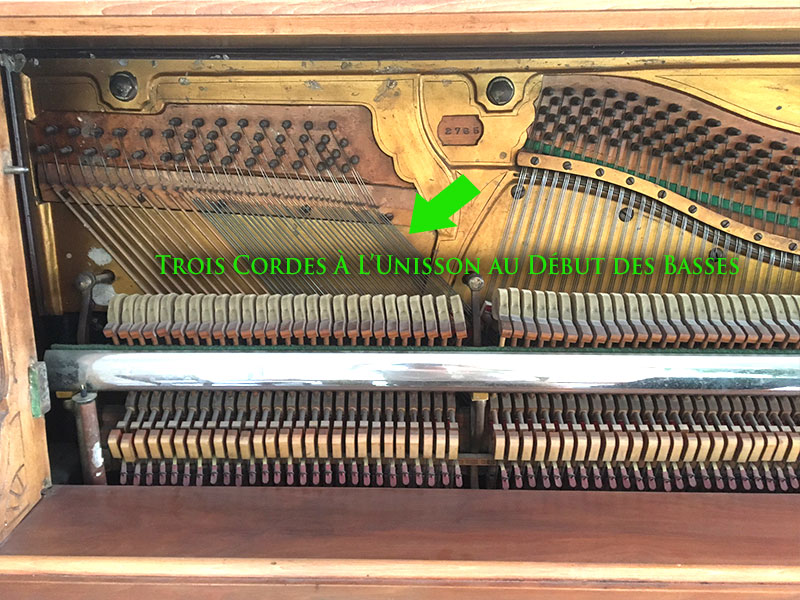 Les cordes basses du piano droit Willis