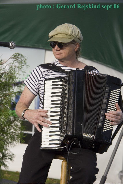 Musette accordionist Mario Bruneau at La Fête Des Vendanges in Magog, Quebec.
