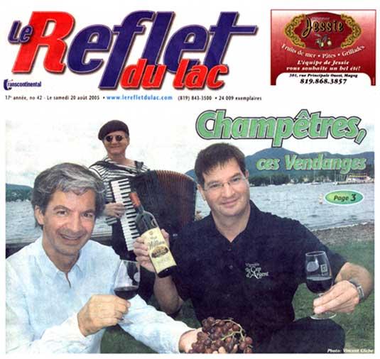 La une du journal local pour l'accordéon musette de Mario Bruneau