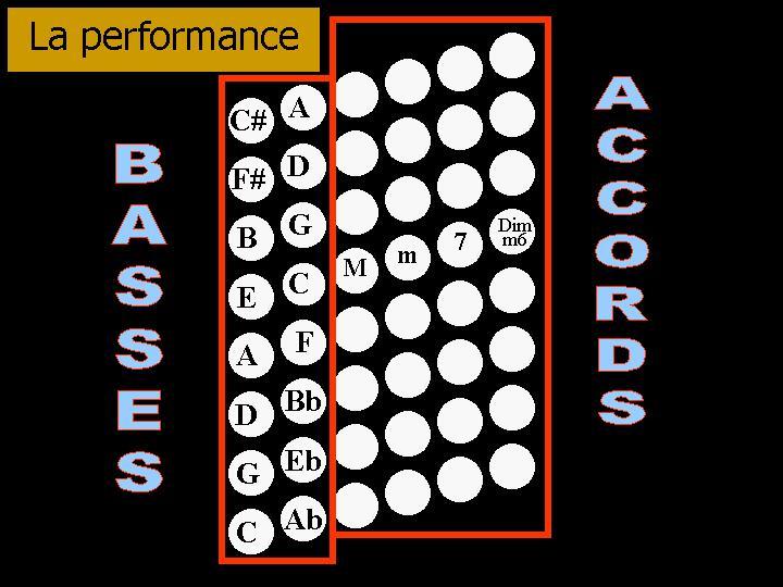 Les basses et les accords de la main gauche de l'accordéon